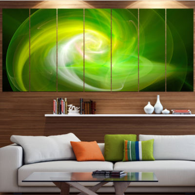 Designart Green Fractal Abstract Illustration Abstract Canvas Wall Art - 7 Panels