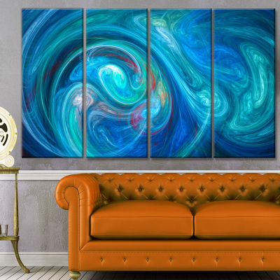 Dark Blue Fractal Abstract Texture Abstract CanvasWall Art - 4 Panels
