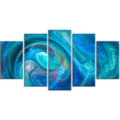 Dark Blue Fractal Abstract Texture Contemporary Canvas Wall Art - 5 Panels