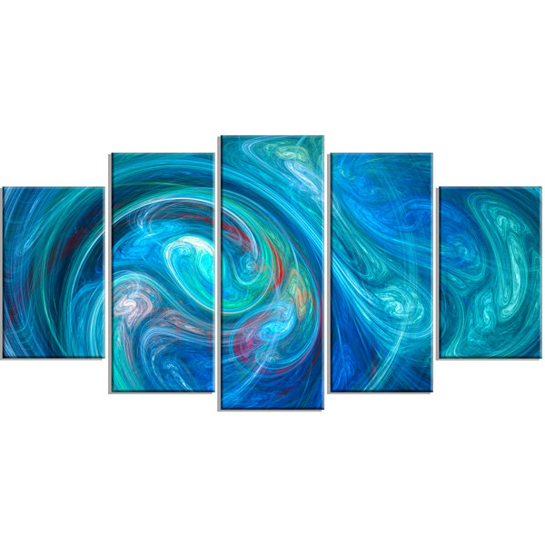 Design Art Dark Blue Fractal Abstract Texture Contemporary Canvas Wall Art - 5 Panels