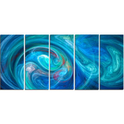 Dark Blue Fractal Abstract Texture Abstract CanvasWall Art - 5 Panels