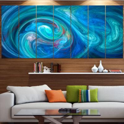 Design Art Dark Blue Fractal Abstract Texture Abstract Canvas Wall Art - 7 Panels