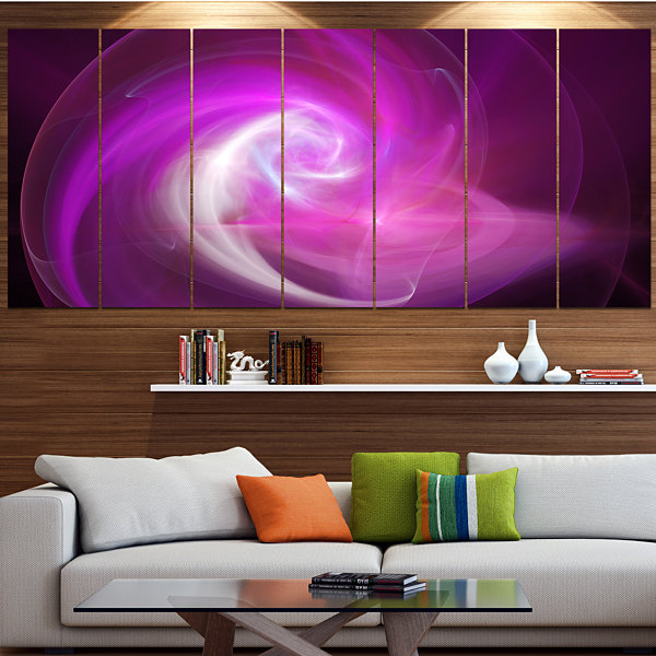 Design Art Pink Fractal Abstract Illustration Abstract CanvasWall Art - 4 Panels