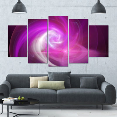 Designart Pink Fractal Abstract Illustration Contemporary Canvas Wall Art - 5 Panels