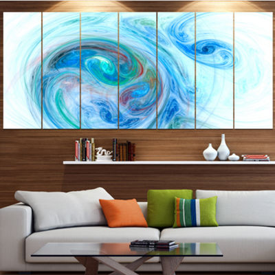 Designart Light Blue Fractal Illustration AbstractCanvas Wall Art - 4 Panels