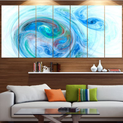 Light Blue Fractal Illustration Contemporary Canvas Wall Art - 5 Panels