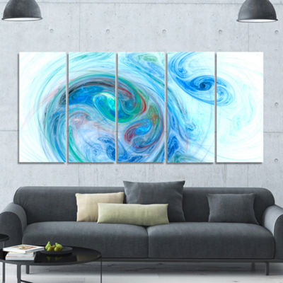 Designart Light Blue Fractal Illustration AbstractCanvas Wall Art - 5 Panels