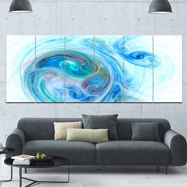 Designart Light Blue Fractal Illustration AbstractCanvas Wall Art - 6 Panels