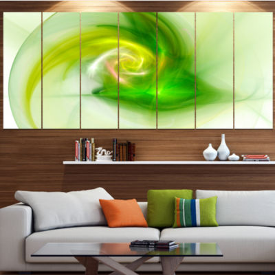 Designart Bright Green Fractal Illustration Abstract Canvas Wall Art - 4 Panels