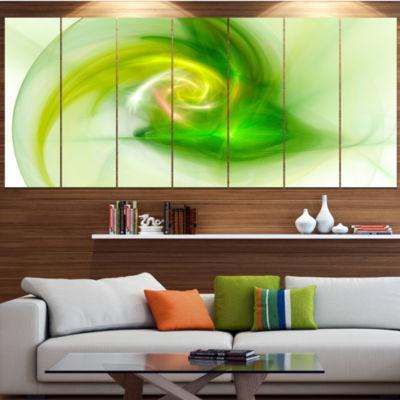 Designart Bright Green Fractal Illustration Contemporary Canvas Wall Art - 5 Panels