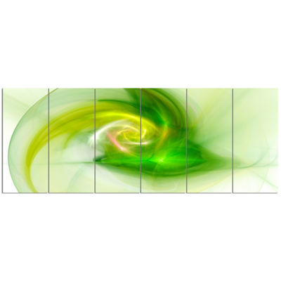 Designart Bright Green Fractal Illustration Abstract Canvas Wall Art - 6 Panels
