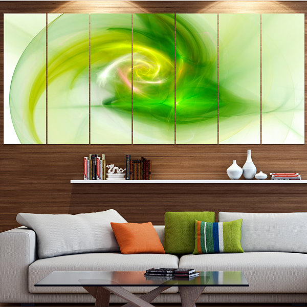 Designart Bright Green Fractal Illustration Abstract Canvas Wall Art - 7 Panels
