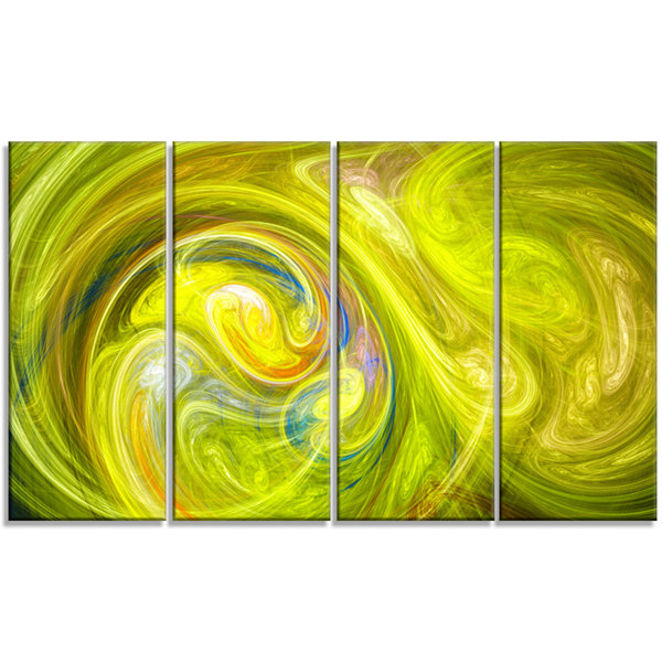 Design Art Yellow Fractal Abstract Illustration Abstract Canvas Wall Art - 4 Panels
