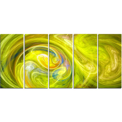 Designart Yellow Fractal Abstract Illustration Abstract Canvas Wall Art - 5 Panels