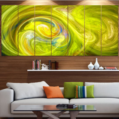 Designart Yellow Fractal Abstract Illustration Abstract Canvas Wall Art - 6 Panels