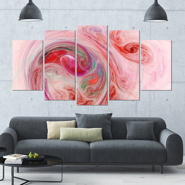 Designart Red Fractal Abstract Illustration Contemporary Canvas Wall ...