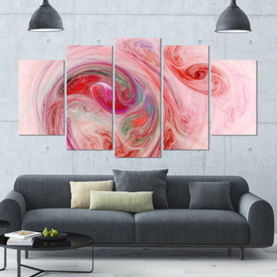 Designart Red Fractal Abstract Illustration Contemporary Canvas Wall Art - 5 Panels