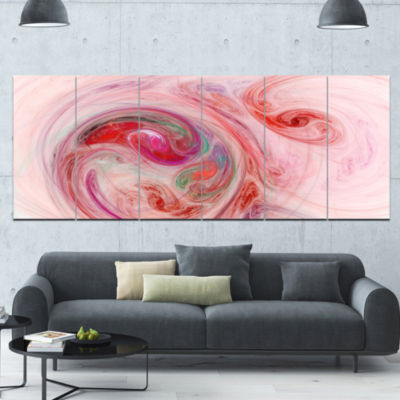 Red Fractal Abstract Illustration Abstract CanvasWall Art - 6 Panels