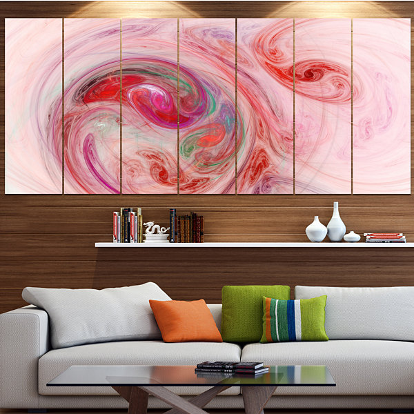 Designart Red Fractal Abstract Illustration Abstract CanvasWall Art - 7 Panels