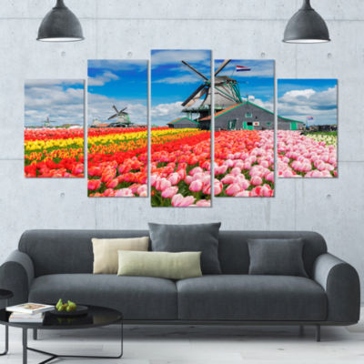Designart Dutch Windmills And Garden ContemporaryCanvas Wall Art - 5 Panels