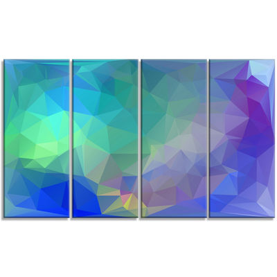 Designart Light Blue Polygonal Mosaic Pattern Abstract Canvas Art Print - 4 Panels