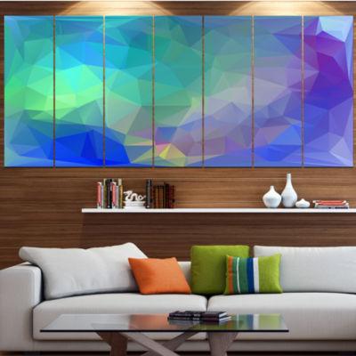 Designart Light Blue Polygonal Mosaic Pattern Contemporary Canvas Art Print - 5 Panels
