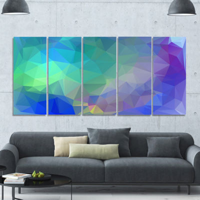 Designart Light Blue Polygonal Mosaic Pattern Abstract Canvas Art Print - 5 Panels