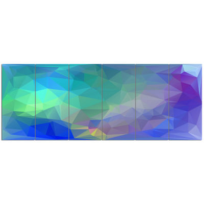 Designart Light Blue Polygonal Mosaic Pattern Abstract Canvas Art Print - 6 Panels