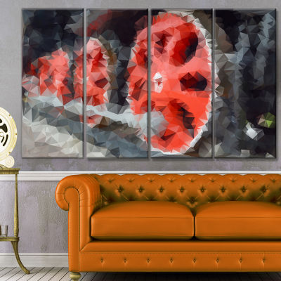 Designart Red Wheels Of Old Steam Train AbstractCanvas Art Print - 4 Panels