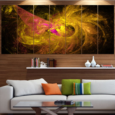 Designart Golden Fractal Abstract Illustration Abstract Canvas Art Print - 6 Panels