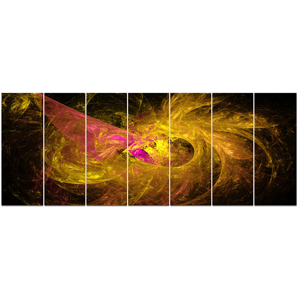 Designart Golden Fractal Abstract Illustration Abstract Canvas Art Print - 7 Panels