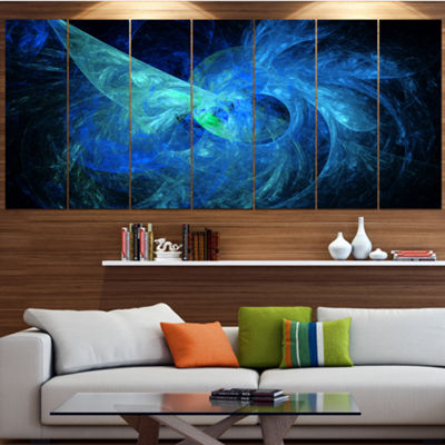 Designart Blue On Dark Fractal Illustration Abstract Canvas Art Print - 4 Panels
