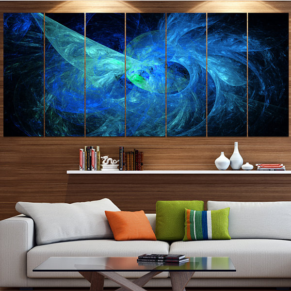 Designart Blue On Dark Fractal Illustration Contemporary Canvas Art Print - 5 Panels