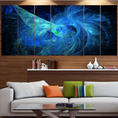 Designart Blue On Dark Fractal Illustration Abstract Canvas Art Print - 5 Panels