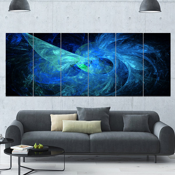 Designart Blue On Dark Fractal Illustration Abstract Canvas Art Print - 6 Panels