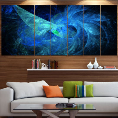 Designart Blue On Dark Fractal Illustration Abstract Canvas Art Print - 7 Panels