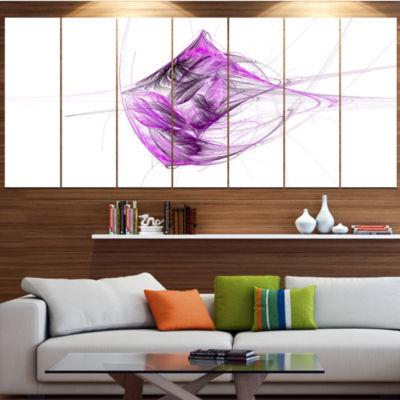 Designart Purple On White Fractal Illustration ContemporaryCanvas Art Print - 5 Panels
