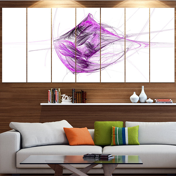 Designart Purple On White Fractal Illustration Abstract Canvas Art Print - 6 Panels