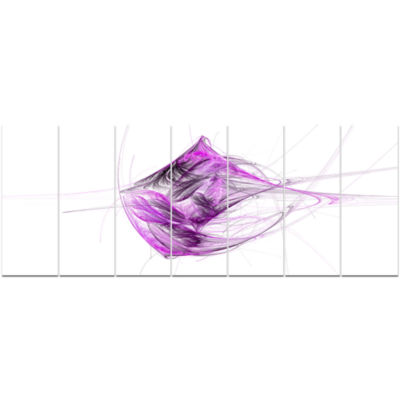 Purple On White Fractal Illustration Abstract Canvas Art Print - 7 Panels