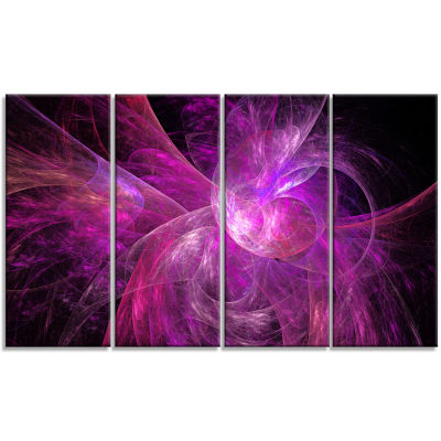 Purple Fractal Abstract Illustration Abstract Canvas Art Print - 4 Panels