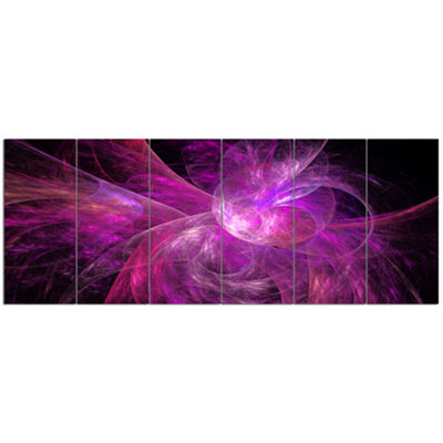 Designart Purple Fractal Abstract Illustration Abstract Canvas Art Print - 6 Panels
