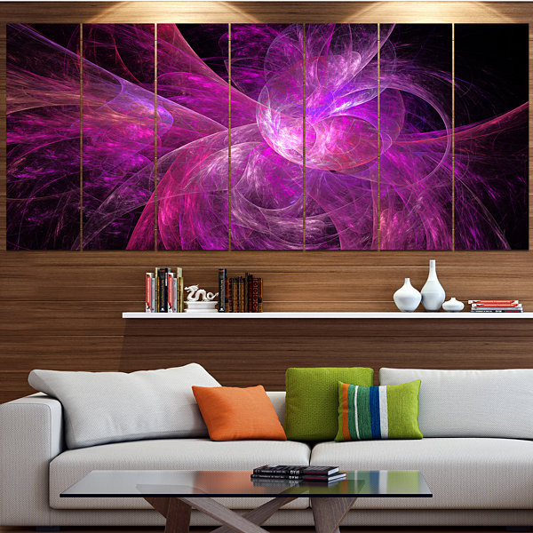 Designart Purple Fractal Abstract Illustration Abstract Canvas Art Print - 7 Panels