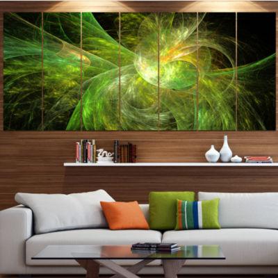 Designart Green On Black Fractal Illustration Contemporary Canvas Art Print - 5 Panels