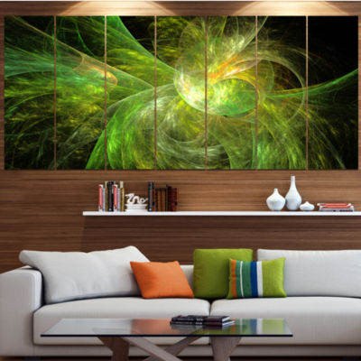 Designart Green On Black Fractal Illustration Abstract Canvas Art Print - 6 Panels