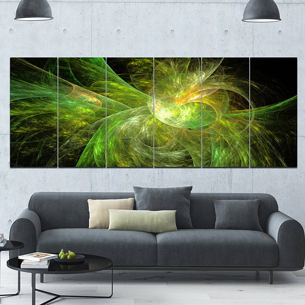 Designart Green On Black Fractal Illustration Abstract Canvas Art Print - 6 Panels