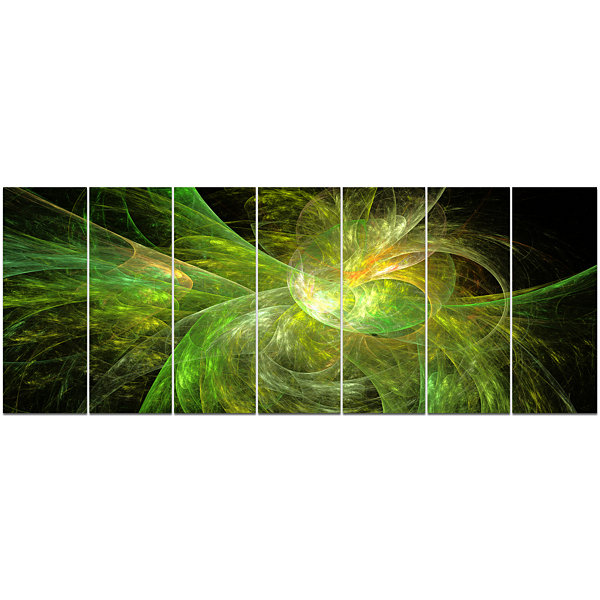 Designart Green On Black Fractal Illustration Abstract Canvas Art Print - 7 Panels