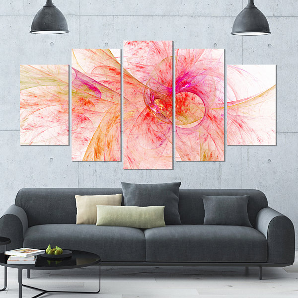 Designart Pink Fractal Abstract Illustration Contemporary Canvas Art Print - 5 Panels