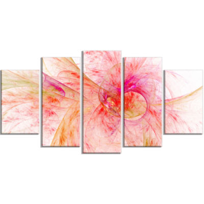 Pink Fractal Abstract Illustration Contemporary Canvas Art Print - 5 Panels
