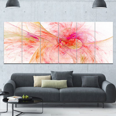 Designart Pink Fractal Abstract Illustration Abstract Canvas Art Print - 6 Panels