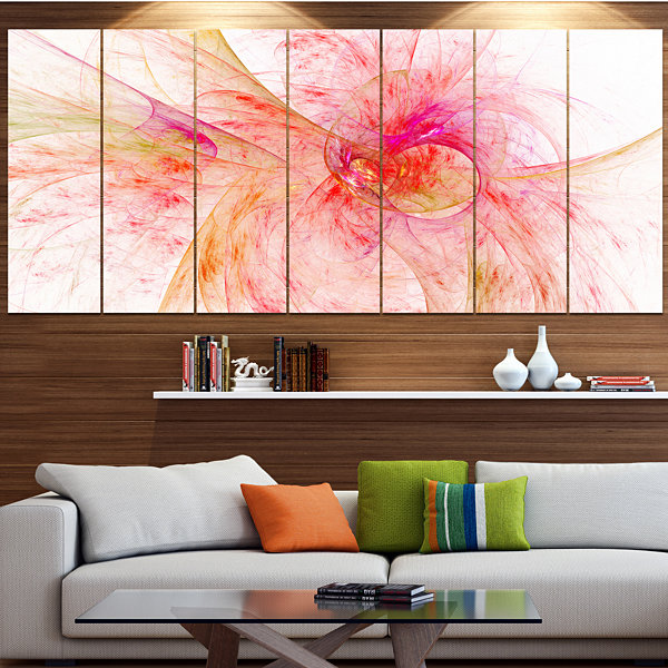 Designart Pink Fractal Abstract Illustration Abstract Canvas Art Print - 7 Panels